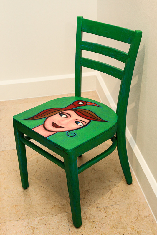 Boy With Bird Chair, Acrylic On Wooden Chair, 2001. Sold